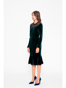 Vestido verde terciopelo y encaje Silvian Heach