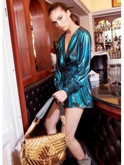 Vestido azul metalizado Denny Rose