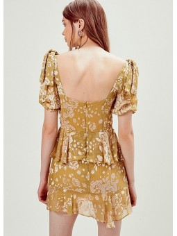 Mini vestido mostaza For love and lemons