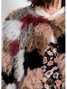 Abrigo de pelo en patchwork Silvian Heach