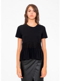 Camiseta negra con plumeti Silvian Heach