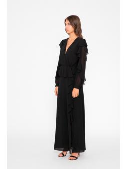 Vestido negro volantes Silvian Heach