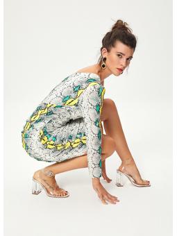 NINFA Vestido asimétrico estampado serpiente – Mioh