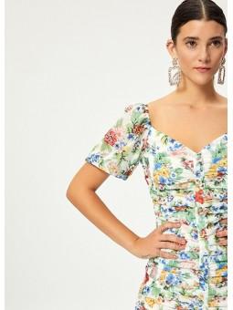 PETUNIA Vestido drapeado floral – Mioh