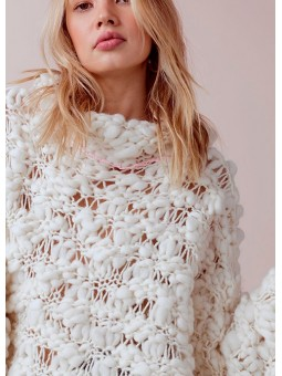 Jersey poncho de lana color crudo For Love & Lemons