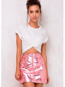 Falda metalizada ecopiel rosa For Love & Lemons