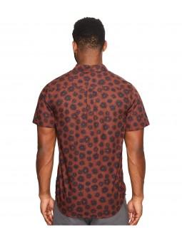 Camisa manga corta color teja con pattern azul Roark