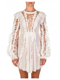 Mini vestido con encaje y volantes For Love and Lemons
