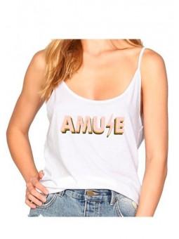 Camiseta de tirantes blanca Amuse Society