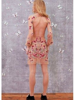 Vestido mini nude bordado For Love & Lemons