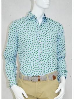 Camisa azul con flores verdes Koike Barcelona