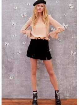 Mini falda de terciopelo negro For Love & Lemons