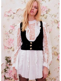 Chaleco de terciopelo negro For Love & Lemons